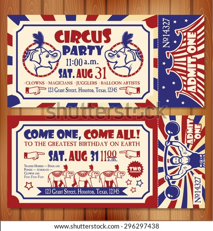 Birthday card with Circus Ticket - stock vector