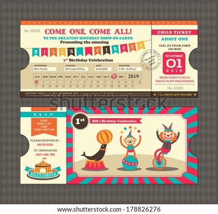 Birthday Card Circus Ticket Pass Design Stock Vector 178826276 ...