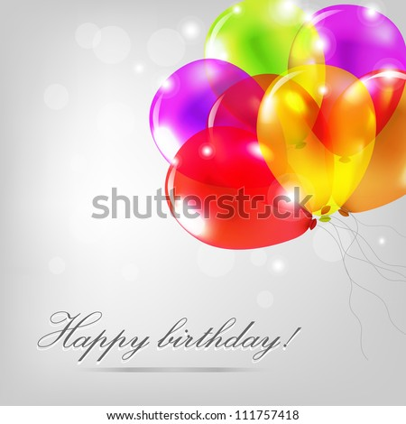 Birthday Card With Color Balloons, Vector Illustration - stock vector