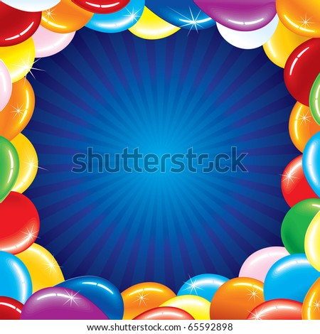 Birthday card with colored balloons border - stock vector