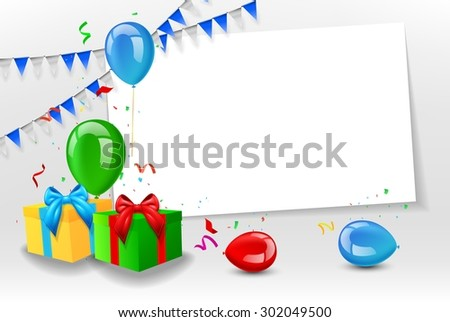 Birthday card with colorful balloons - stock vector