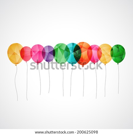 Birthday card with colorful simply transparent  balloons - stock vector