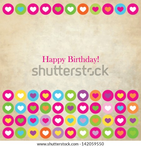 Birthday  card with copy space - colorful heart template - stock vector