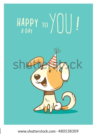 Birthday card cute cartoon dog party stock photo photo vector birthday card with cute cartoon dog in party hat vector contour colorful image little bookmarktalkfo Choice Image