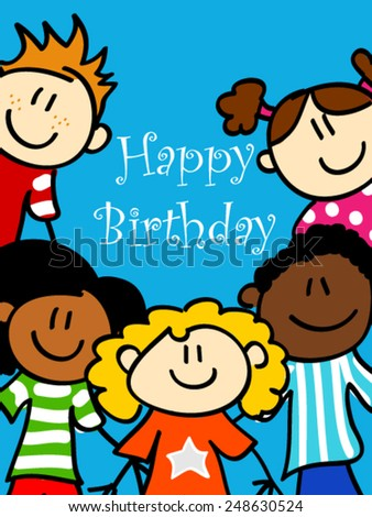 Birthday card with cute kid cartoon characters looking at you  - stock vector