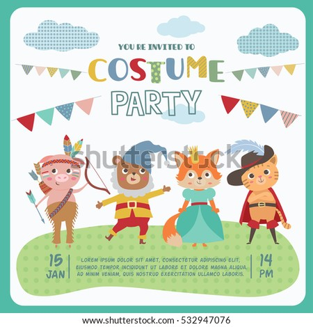 Birthday card cute little animals card stock vector 532947076 birthday card with cute little animals card invitation for costume party animal kids in stopboris Gallery