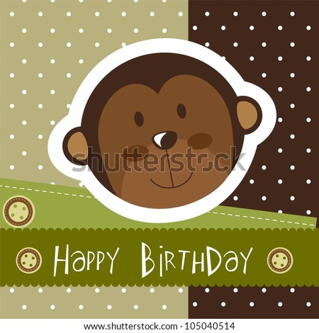 birthday card with cute monkey. vector illustration - stock vector