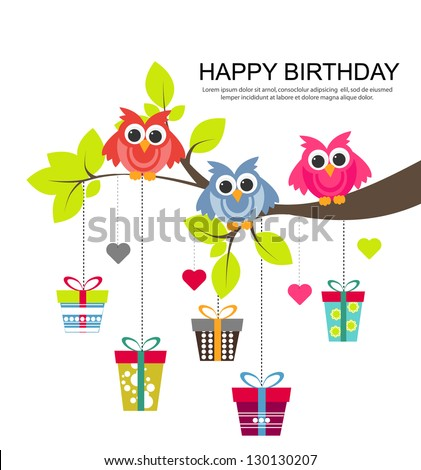 birthday card with cute owls