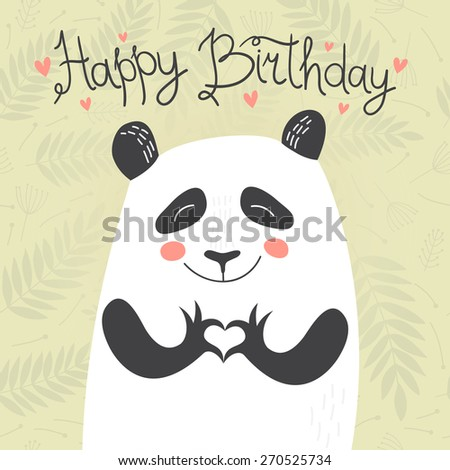 Birthday card with cute panda showing heart on floral background. Vector illustration. - stock vector