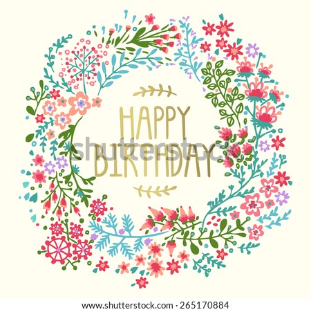 Birthday card with floral wreath  - stock vector