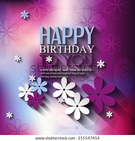 Birthday card with flowers on colorful background. - stock vector