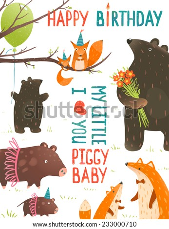 Birthday Card with Forest Animals Mothers and Babies. Animal cute children and parents birthday congratulations. Vector illustration. - stock vector