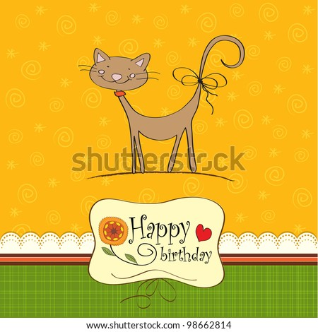 birthday card with funny cat - stock vector
