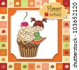 birthday card with funny girl perched on cupcake - stock vector