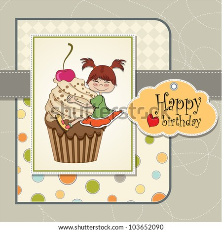 Stock Images similar to ID 90723415 birthday greeting card with – Funny Girl Birthday Cards