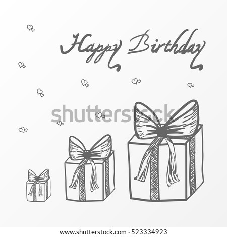 Birthday Card With Gift Boxes Vector Sketch Illustration Happy Hand Drawn Design