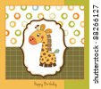 birthday card with giraffe toy - stock vector