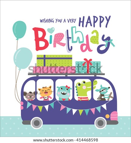 Birthday Card with group of cute animals in a bus - stock vector