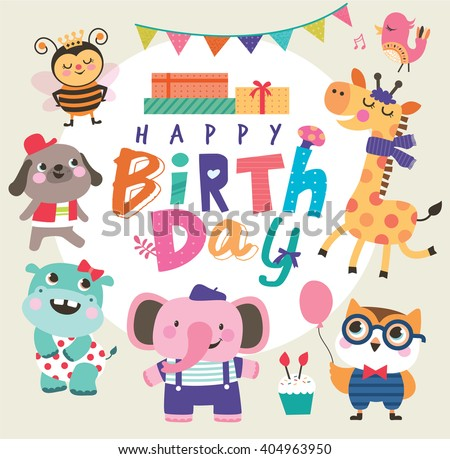 Birthday card group cute little animals stock vector 404963950 birthday card with group of cute little animals bookmarktalkfo Gallery