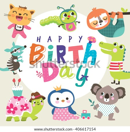 Birthday card with group of cute little animals - stock vector