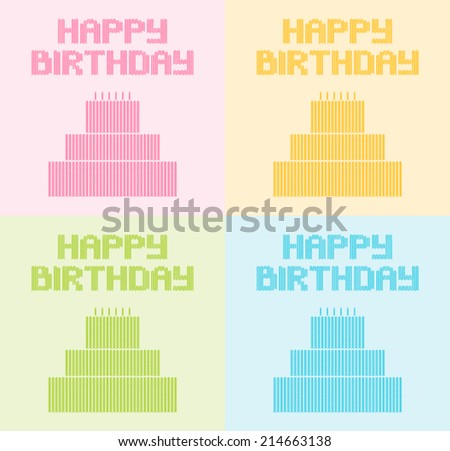 Birthday card with knitted elements - stock vector