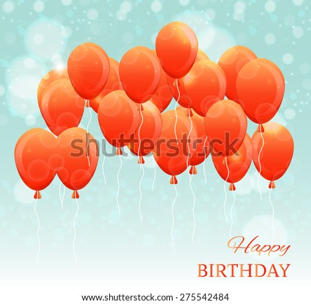Birthday card with many red, flying balloons, blue sky with lights, text Happy Birthday - stock vector