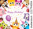 Birthday card with owls - stock photo
