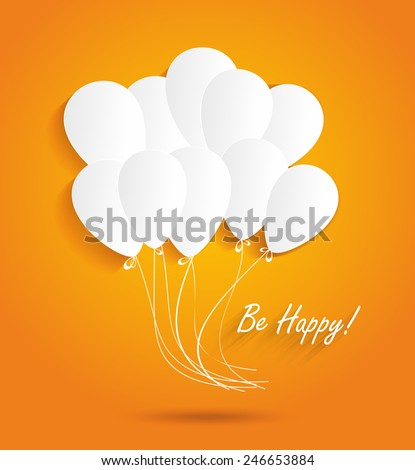 Birthday card with paper ballons - stock vector