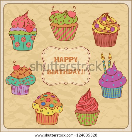 Birthday card with several cupcakes. - stock vector
