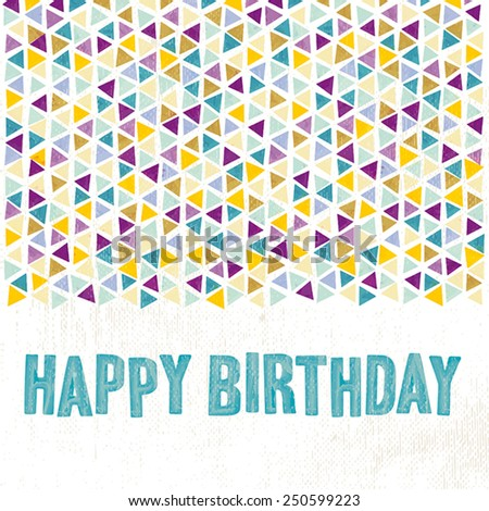 Birthday card with watercolors effect. Contains grunge texture with opacity and blending mode.