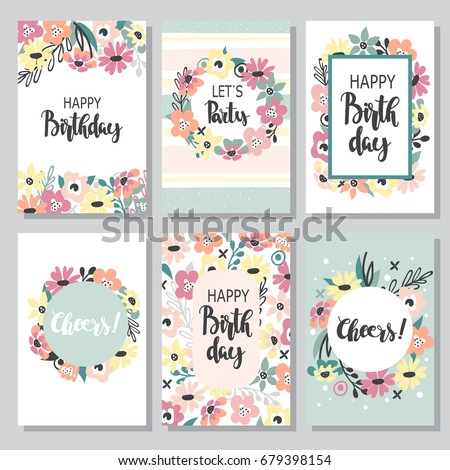 Vintage Birthday Cards Design Set Abstract Vector 639754651 – Birthday Cards Design