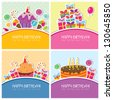 Birthday cards set - stock photo