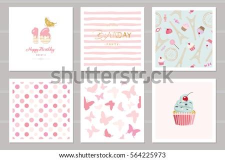 Birthday Cards Set Teenage Girls Including Stock Vector 564225973
