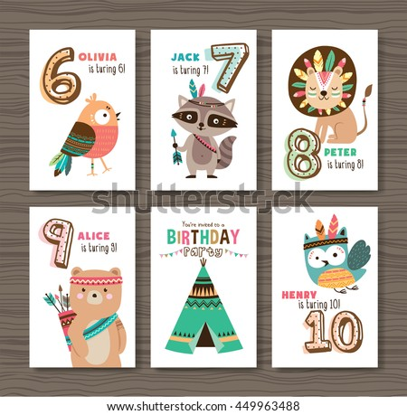 Birthday cards with birthday anniversary number and cute animals - stock vector