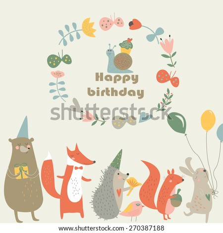 Birthday cards with cute  bear, fox, hedgehog, bird, squirrel, rabbit, snail, butterflies and flowers in cartoon style - stock vector