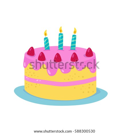 Birthday Cartoon Design Cake Candles Vector Stock Photo Photo