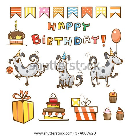 Birthday cartoon set. Cute dogs, gifts, cake, candle, balloon and candy. Vector illustration. - stock vector