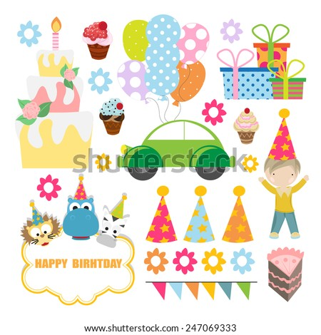 birthday celebration designing element set. vector