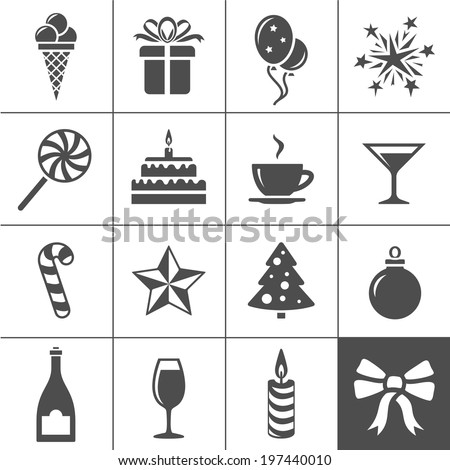 Birthday celebration icons. Holiday and event icon set. Simplus series vector icons - stock vector