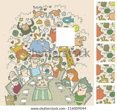 Birthday Celebration Mind Game Puzzle ... Task: Find the right missing part of a picture! ... Solution: 2nd square from above! - stock vector
