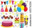 Birthday Celebration Set - stock vector