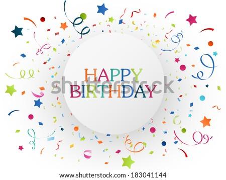 Birthday celebration with colorful confetti  - stock vector