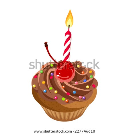 Birthday chocolate cupcake with cream, cherry, sprinkles and candle. Vector illustration.