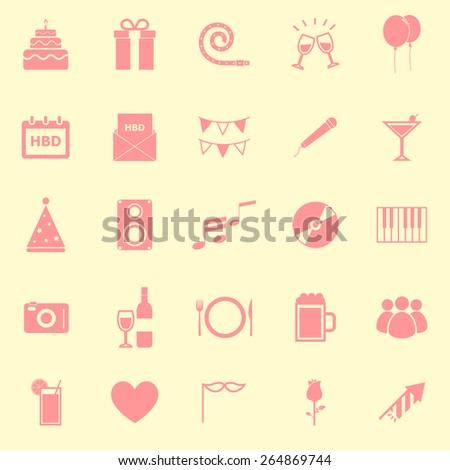 Birthday color icons on yellow background, stock vector - stock vector