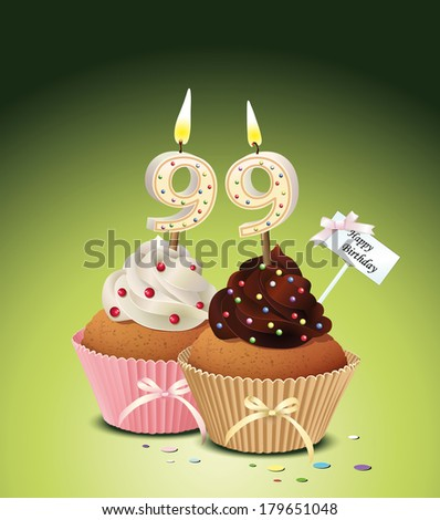 Birthday cupcake with lit candle in shape of number 99 Vector Illustration  - stock vector