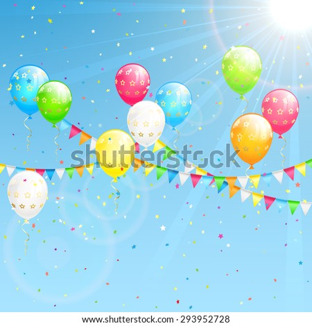 Birthday decoration with colorful  balloons, confetti and pennants on sky background, illustration. - stock vector