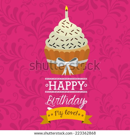 Birthday design over pink background, vector illustration