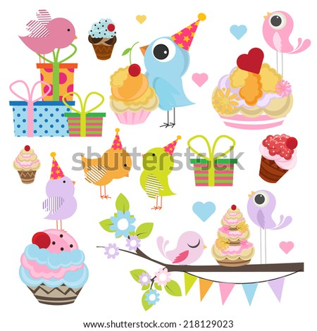 birthday designing element set with sweet birds