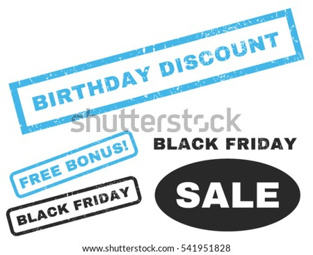 Birthday Discount rubber seal stamp watermark with bonus design elements for Black Friday offers. Vector blue and gray emblems. Text inside rectangular banner with grunge design and scratched texture.