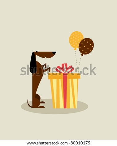 Birthday dog - stock vector